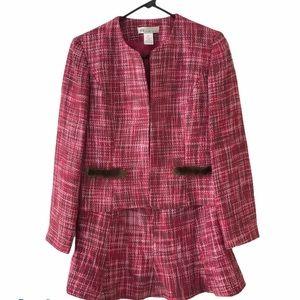 ABR New York Petite Pink Brown Tweed Skirt Suit 8P